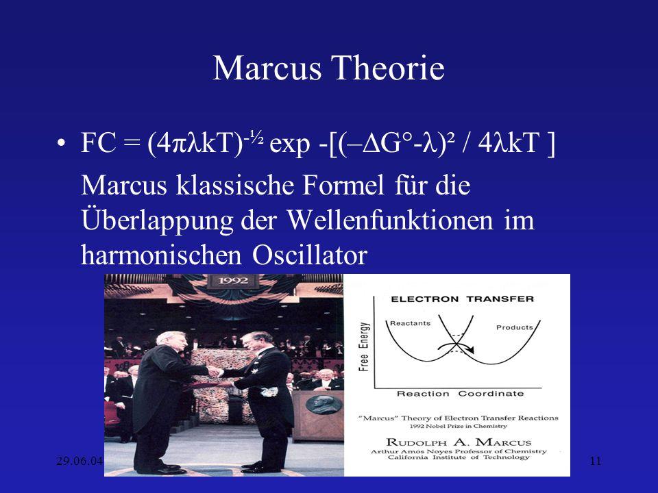 Marcus Theorie FC = (4πλkT)-½ exp -[(–∆G°-λ)² / 4λkT ]